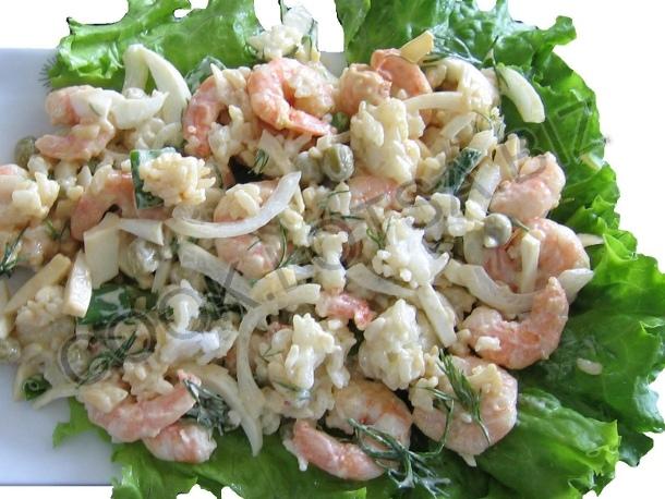 Салат с креветками Летняя радость