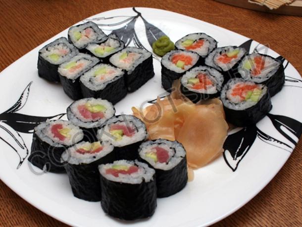 Маки суши, сякэ маки, эби маки