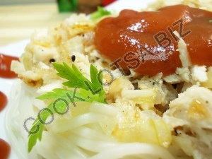 Спагетти по-флотски с курицей